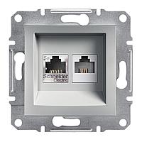 Розетка компьютерная - телефонная CAT5 x RJ11 Schneider Asfora Plus алюминий