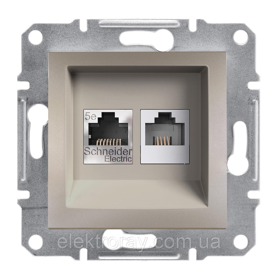 Розетка компьютерная - телефонная CAT5 x RJ11 Schneider Asfora Plus бронза