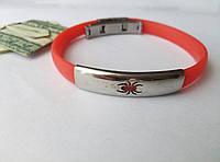 Красный браслет из каучука и стали с пауком арт 2515