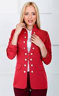 Женский жакет молодежный на пуговицах 1003 красный