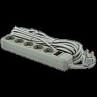 Сетевой фильтр удлинитель LogicPower LP-X5, 10 m 5 розеток Grey