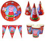 Набор для Праздника Свинка Пеппа(Всего по 10 шт+Баннер)