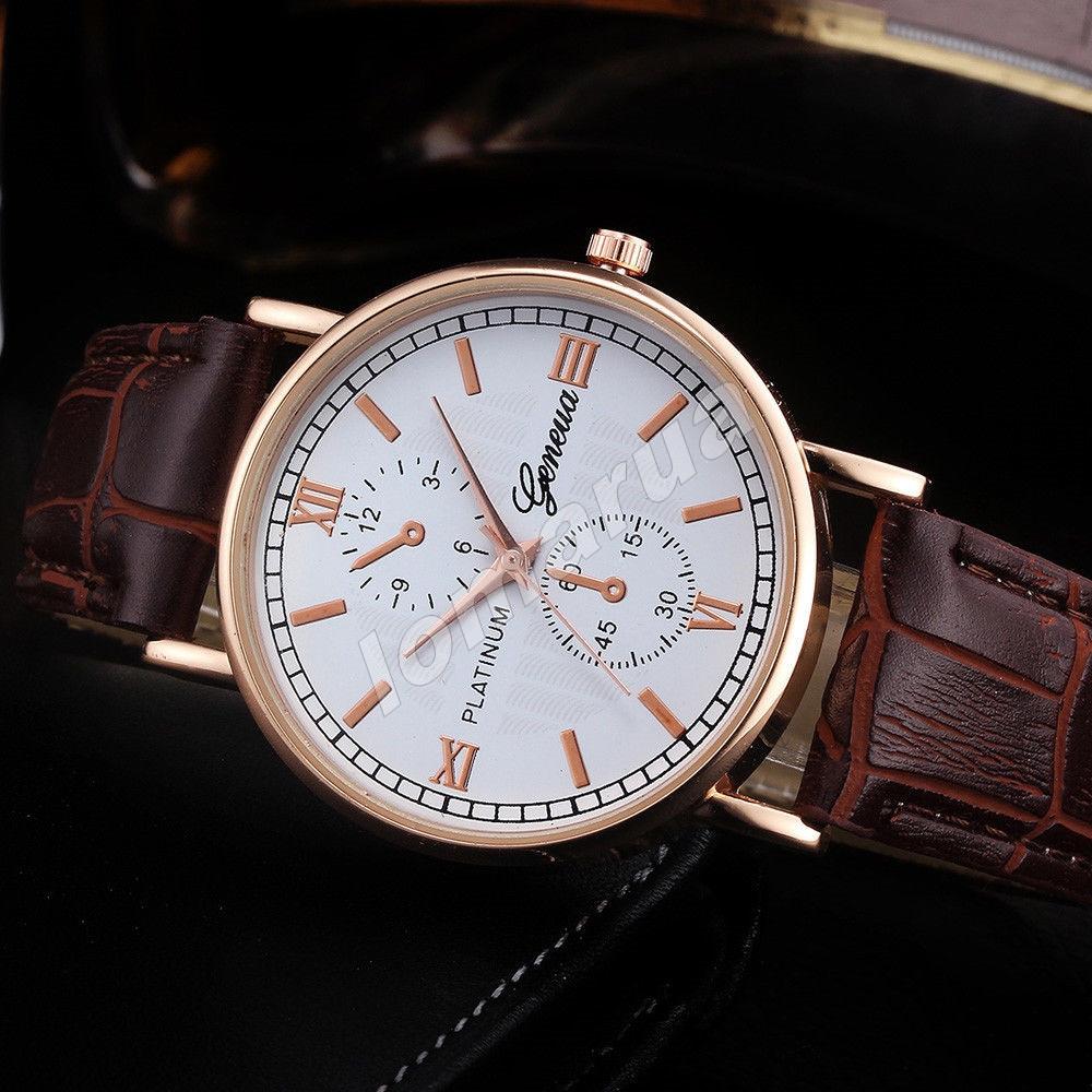 Мужские кварцевые часы Geneva Platinum Gold Brown stripe