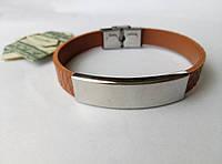 Коричневый браслет из кожи  и нержавеющей стали арт 2701
