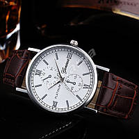 Мужские кварцевые часы Geneva Platinum Silver Brown stripe