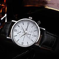 Мужские кварцевые часы Geneva Platinum Silver Black stripe