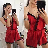 Комбинезон женский шортами, 🌸Ткань: шелк Армани и итальянское круживо Цвет: кремовый, красный вмил №0032