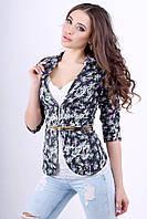 Женский пиджак с цветочным принтом и пояском 1004 сирень