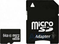 Карта памяти Exceleram 64Gb microSDHC class 10 + Adapter SD (MSD6410A)