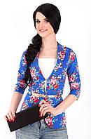 Женский короткий пиджак с отложным воротником 1004/4 электрик
