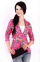 Женский короткий пиджак с отложным воротником 1004/4 малиновый