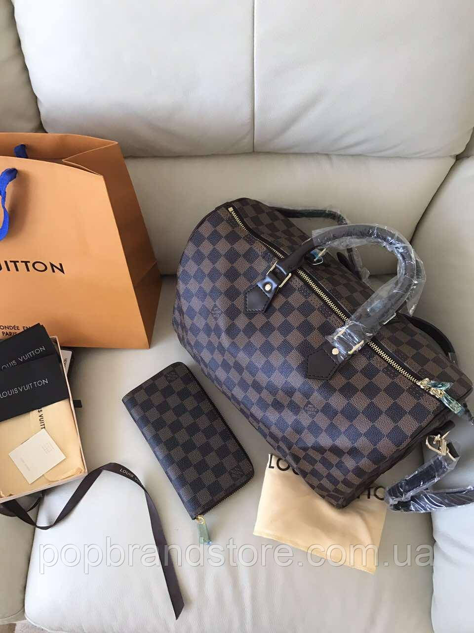 bd8257ed59f7 Стильная женская сумка LOUIS VUITTON SPEEDY DAMIER 35 см (реплика) - Pop  Brand Store