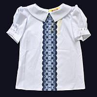 Белая блуза с коротким рукавом 134р.
