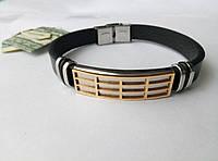 Кожаный браслет с нержавеющей позолоченой сталью арт 2704