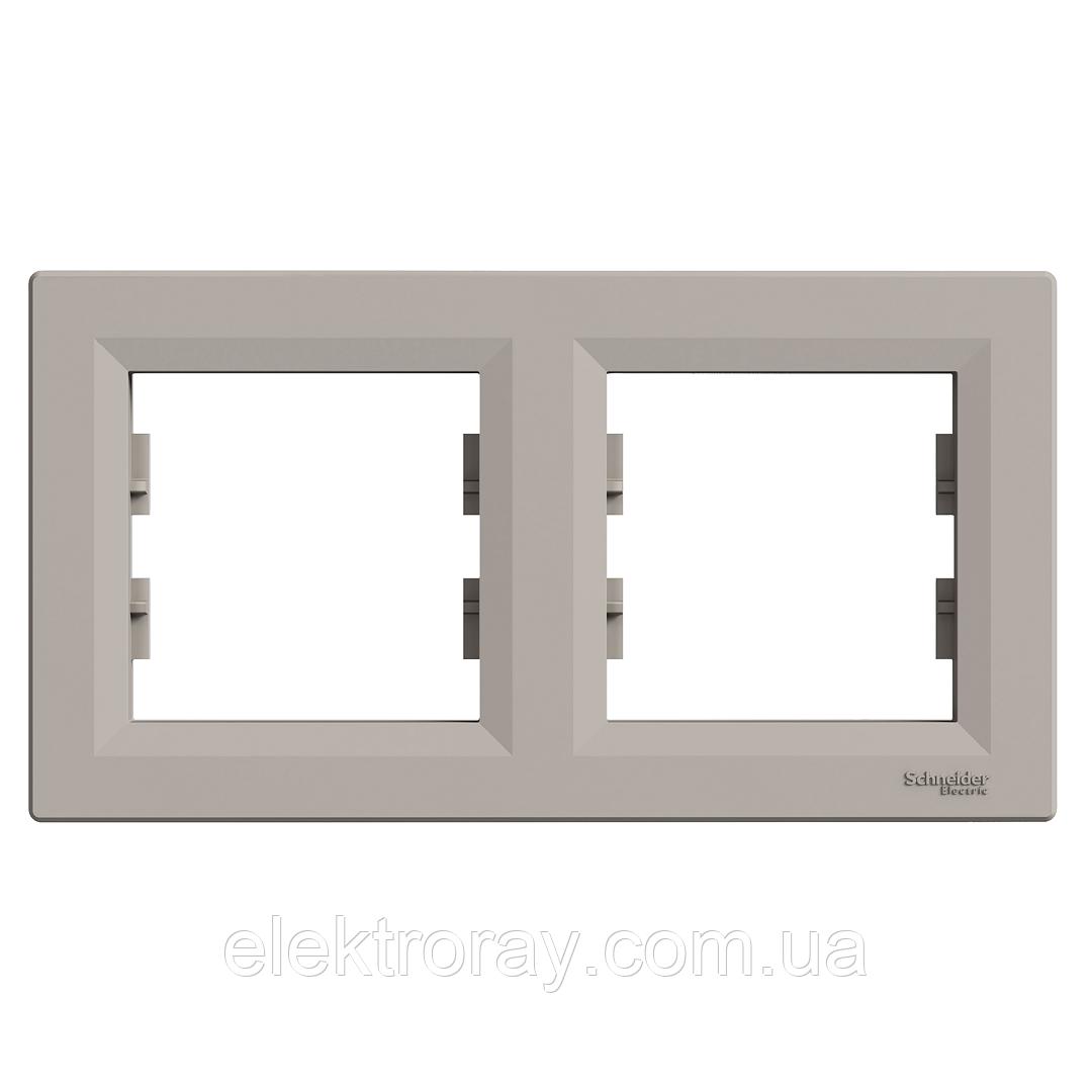 Рамка 2-местная горизонтальная Schneider Asfora Plus бронза