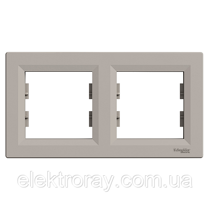 Рамка 2-местная горизонтальная Schneider Asfora Plus бронза, фото 2