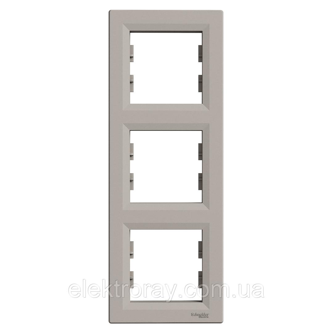 Рамка 3-местная вертикальная Schneider Asfora Plus бронза