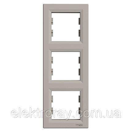 Рамка 3-местная вертикальная Schneider Asfora Plus бронза, фото 2