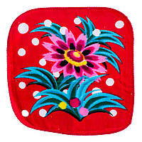 Махровая салфетка полотенце красное с рисунком цветы