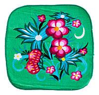 Махровая салфетка полотенце зеленое с рисунком цветы