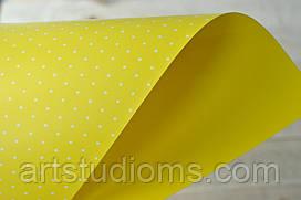 """Дизайнерский картон желтый  двухсторонний """"горох"""" поштучно"""