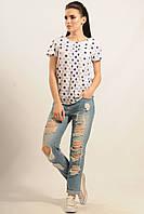 Легкая летняя блуза Айс свободного кроя с принтом 42-52 размеры