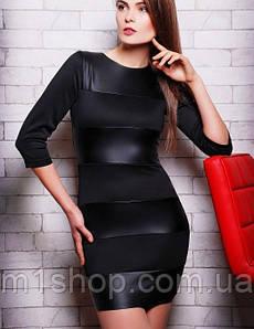 Черное мини платье с кожаными вставками (Comby fup)