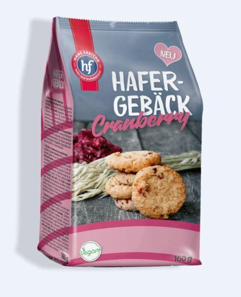 Печенье вегетарианское Hafer Gebäck с кусочками клюквы, 100гр