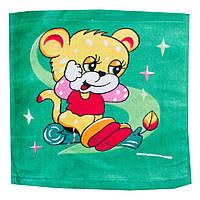 Махровая салфетка полотенце квадратное зеленое с принтом мышки
