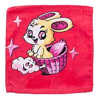 Махровая салфетка полотенце квадратное красная с принтом мышки