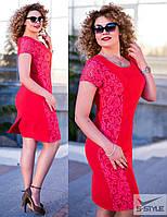 Платье женское,плательная ткань+гипюр,больших размеров