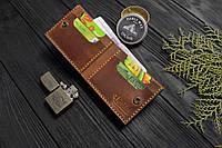 Мужской кожаный бумажник ручной работы VOILE vl-mw4-lbrn-tbc