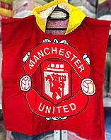 Детское махровое пончо с капюшоном FC Манчестер