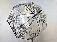 Прозрачный зонт-трость с принтом зебра