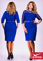 Стильное платье женское,большие размеры,синее