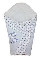 Конверт Одеяло для новорожденных на выписку весна лето осень 80х80см Собачка горох