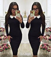 Платье  деловое  миди с  белым воротничком , черное!, фото 1