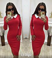 Платье  деловое  миди с  белым воротничком , красное!, фото 1