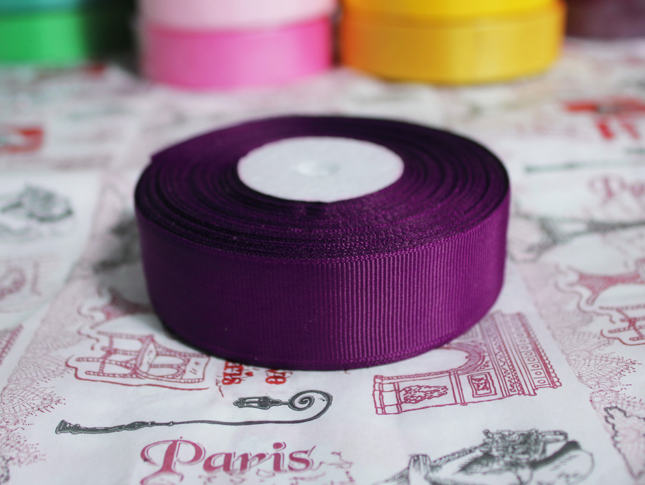Лента репсовая фиолетовая 25 мм, 23 м