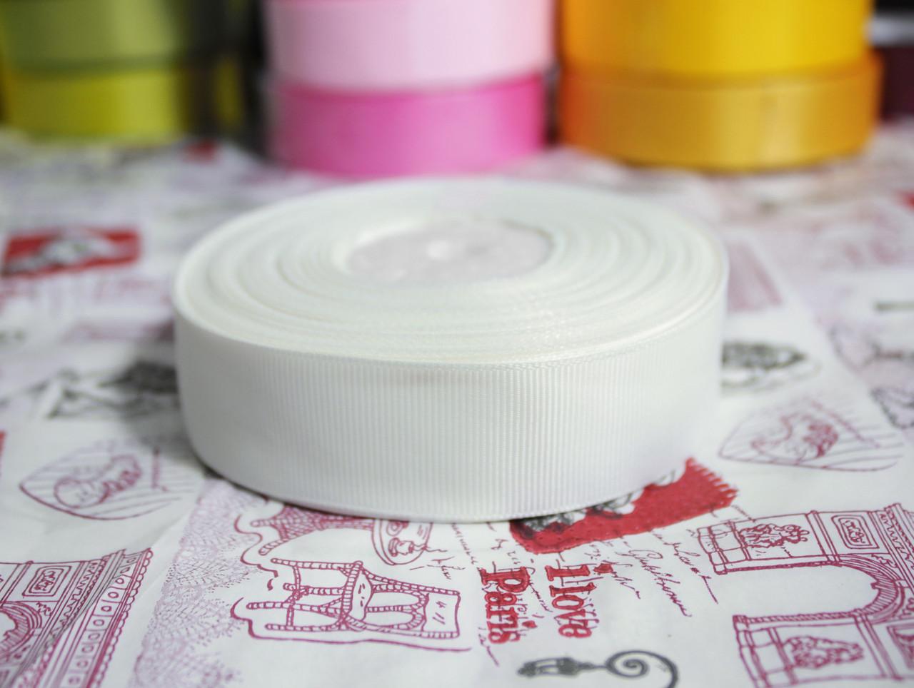 Лента репсовая молочная 25 мм, 23 м