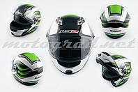 Шлем трансформер LS2 FF370 бело-зеленый + солнцезащитные очки мотошлем