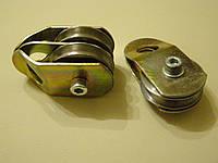 Блок-ролик двойной под трос 6 мм-8 мм диаметр шкива50мм с подшипником и разводными щеками (система полиспаст)