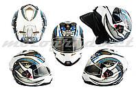 Шлем интеграл закрытый GSB G346 бело-синий фулфейс