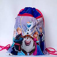 """Рюкзак мешок для сменной обуви """"Холодное сердце"""" с дополнительным карманом на молнии синего цвета"""