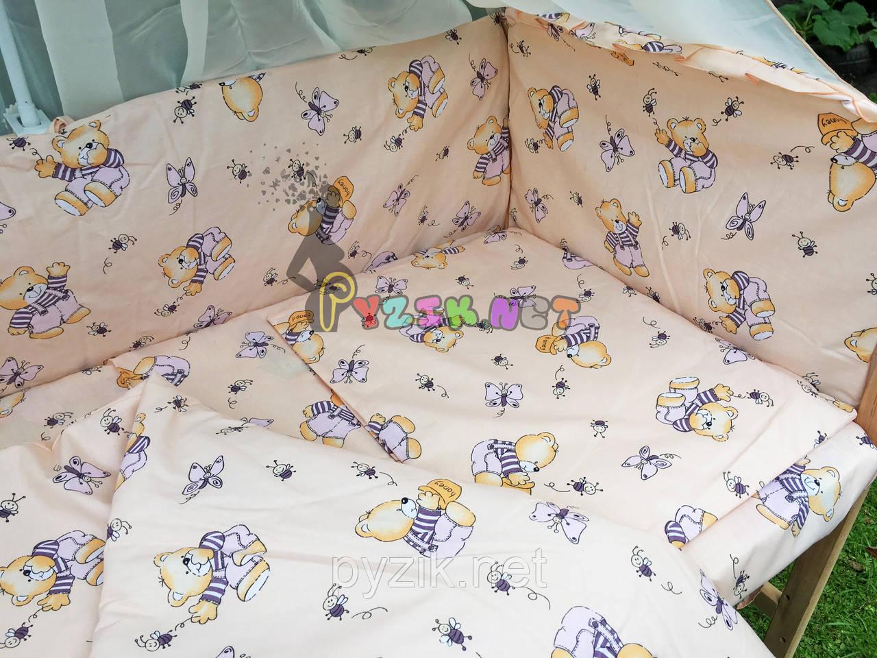 """Постільний набір в дитячу ліжечко (8 предметів) Premium """"Ведмедики з медом"""" бежевий"""