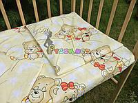 Постельный набор в детскую кроватку (3 предмета) Мишки Спят Желтый, фото 1