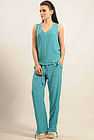 Летние широкие брюки Шанти с легкой ткани с принтом  на завязках 42-52 размеры