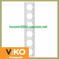 Шестерная вертикальная рамка Viko Meridian