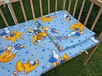 Постельный набор в детскую кроватку (3 предмета) Мишки На Луне Голубой