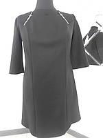 Платье черное до колена отделка молнии большого размера